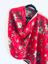 Load image into Gallery viewer, Red and Green Winter Floral Reversible Cashmere Feel Draped Shawl