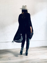 Load image into Gallery viewer, Black Zebra Velvet Burnout Kimono