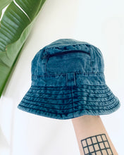 Load image into Gallery viewer, Blue Zip Cotton Bucket Hat