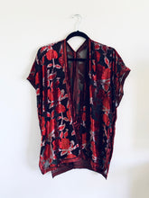 Load image into Gallery viewer, Red and Silver Floral Velvet Burnout Slim Fit Kimono