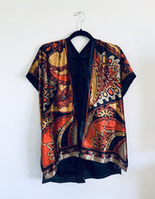 Load image into Gallery viewer, Yellow and Orange Retro Velvet Burnout Slim Fit Kimono