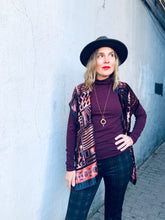 Load image into Gallery viewer, Burgundy and Copper Velvet Burnout Slim Fit Kimono