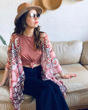 Load image into Gallery viewer, Pink Ikat Semi Sheer Kimono