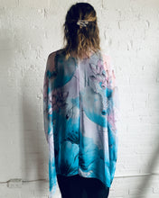 Load image into Gallery viewer, Lavender and Turquoise Abstract Floral Sheer Kimono