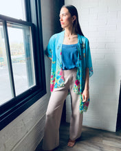 Load image into Gallery viewer, Bright Blue Floral Sheer Kimono