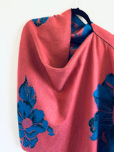 Load image into Gallery viewer, Pink and Blue Floral Reversible Cashmere Feel Draped Shawl