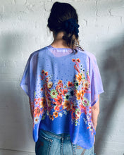 Load image into Gallery viewer, Two Tone Purple Sheer Floral Cropped Kimono