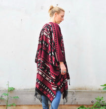 Load image into Gallery viewer, Red and Black Southwestern Print Blanket Poncho