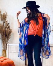 Load image into Gallery viewer, Blue and Orange Ikat Sheer Kimono