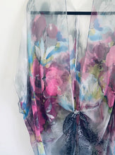 Load image into Gallery viewer, Grey and Pink Flower Sheer Kimono