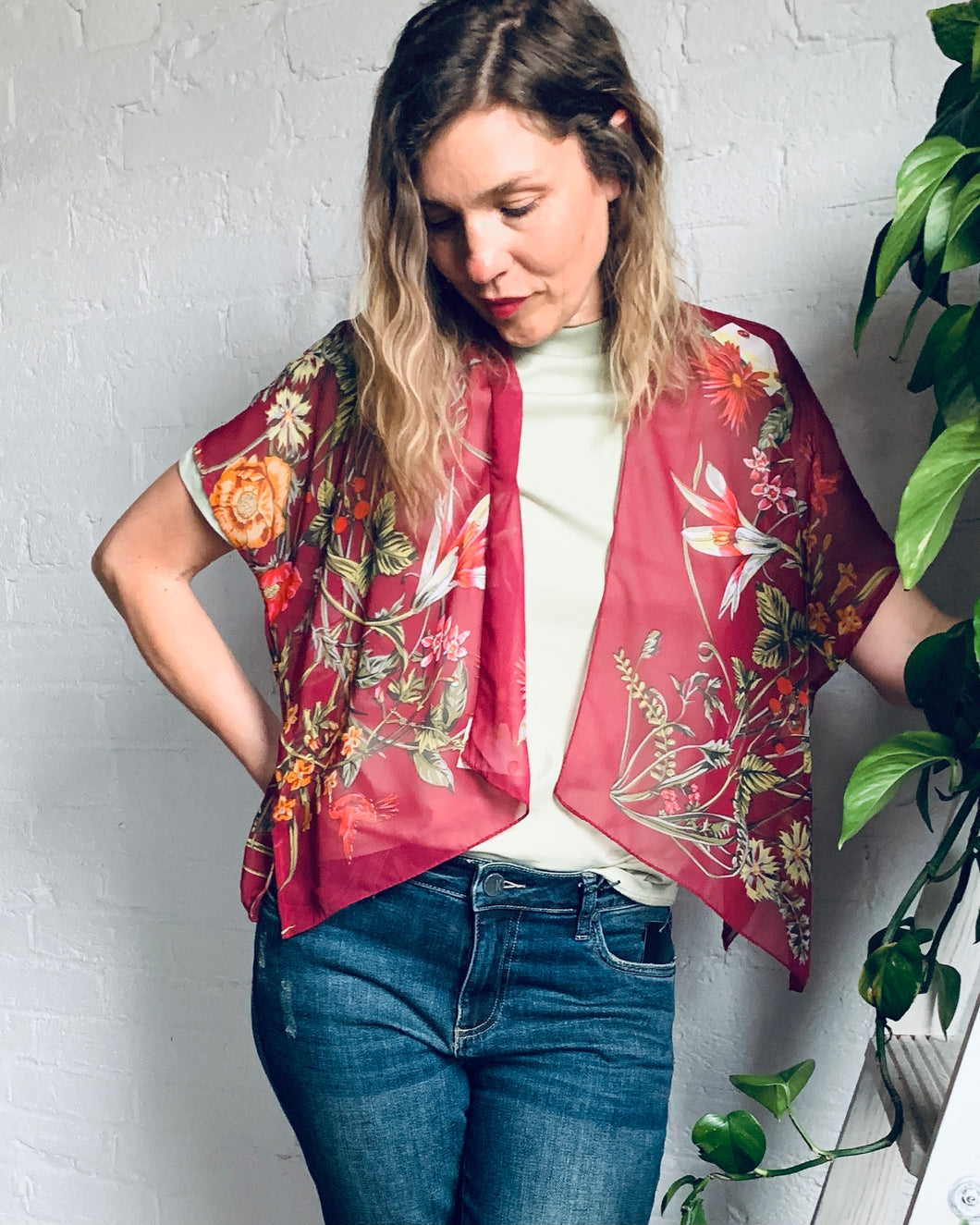 Burgundy Sheer Floral Cropped Kimono