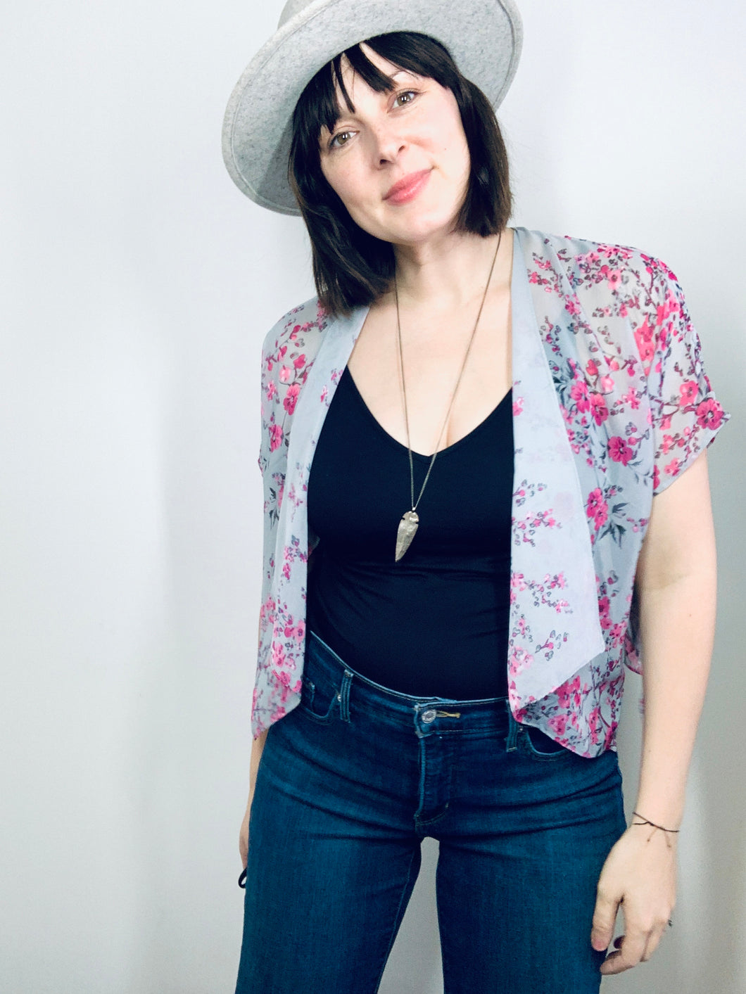 Grey Blue and Pink Floral Sheer Cropped Kimono