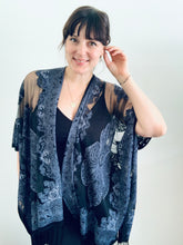 Load image into Gallery viewer, Black Sheer Burnout Kimono