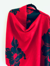Load image into Gallery viewer, Red and Navy Floral Reversible Cashmere Feel Draped Shawl