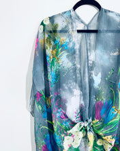 Load image into Gallery viewer, Grey Floral Sheer Kimono