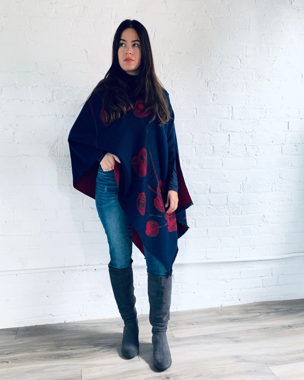 Reversible Navy and Red Cashmere Feel Draped Shawl