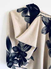 Load image into Gallery viewer, Reversible Black and Cream Floral Cashmere Feel Draped Shawl
