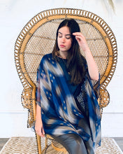 Load image into Gallery viewer, Blue and Taupe Ikat Sheer Kimono