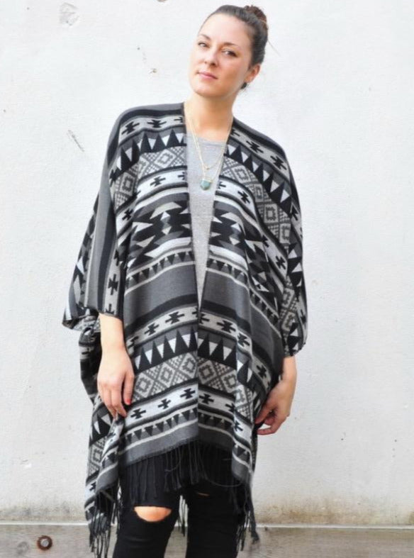 Grey and Black Southwestern Print Blanket Poncho
