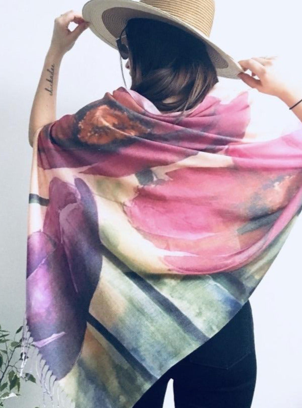 Pink Floral Light Draped Shawl