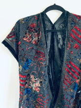 Load image into Gallery viewer, Red and Purple Multi Print Velvet Burnout Slim Fit Kimono