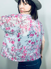 Load image into Gallery viewer, Grey Blue and Pink Floral Sheer Cropped Kimono