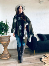 Load image into Gallery viewer, Reversible Olive and Grey Cashmere Feel Draped Shawl