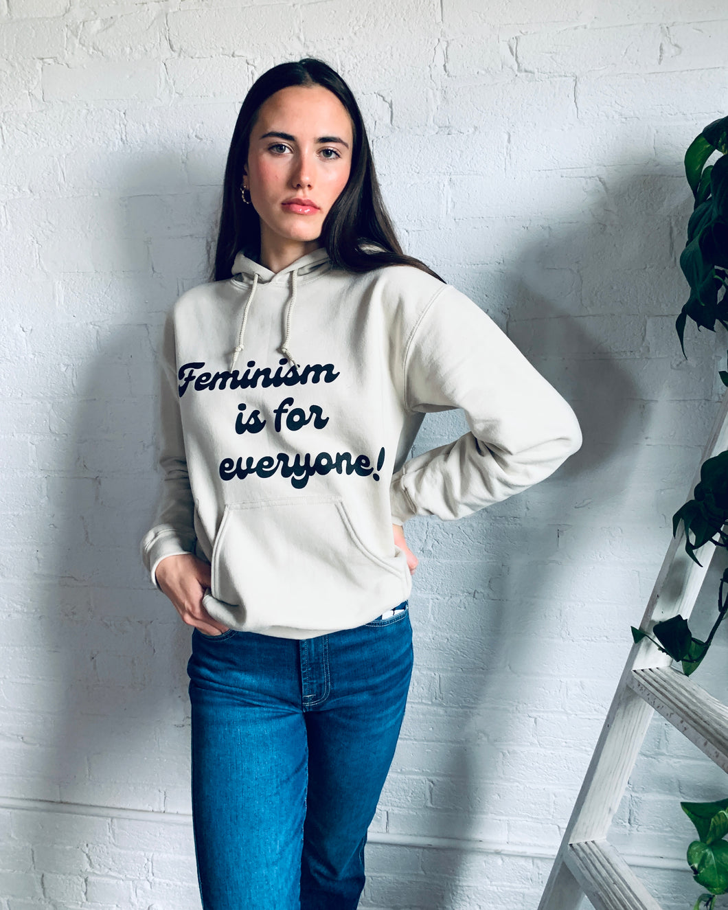 Feminism is for Everyone- Sand Hooded Sweatshirt
