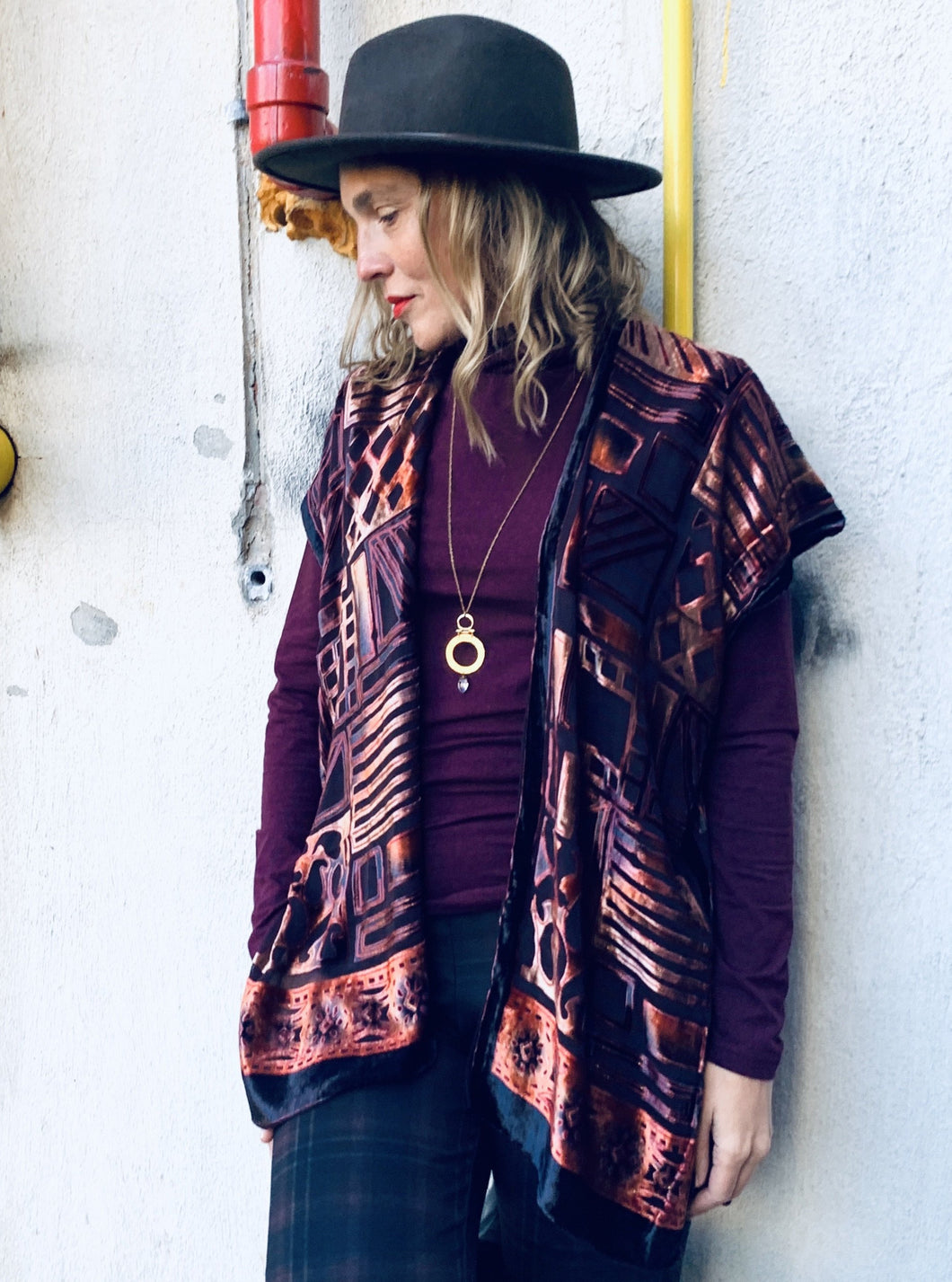 Burgundy and Copper Velvet Burnout Slim Fit Kimono