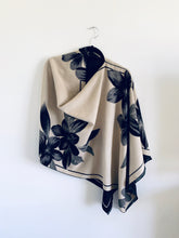 Load image into Gallery viewer, Reversible Cream and Black Floral Cashmere Feel Draped Shawl