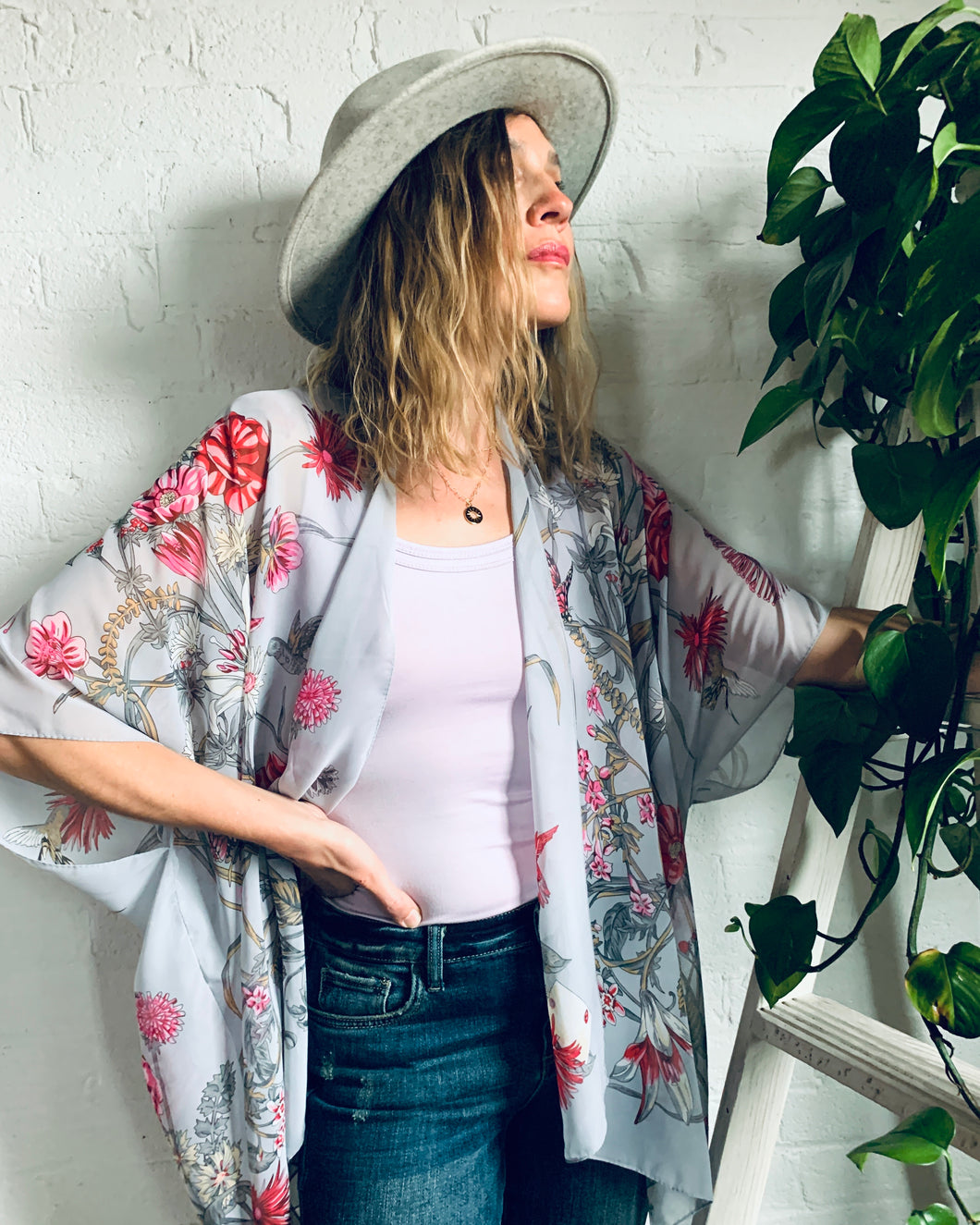 Dolphin Grey and Pink Floral Sheer Kimono