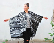 Load image into Gallery viewer, Grey and Black Southwestern Print Blanket Poncho