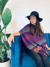 Load image into Gallery viewer, Purple Aztec Draped Shawl