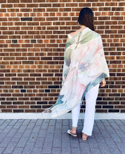 Load image into Gallery viewer, White, Pink and Blue Floral Light Draped Shawl