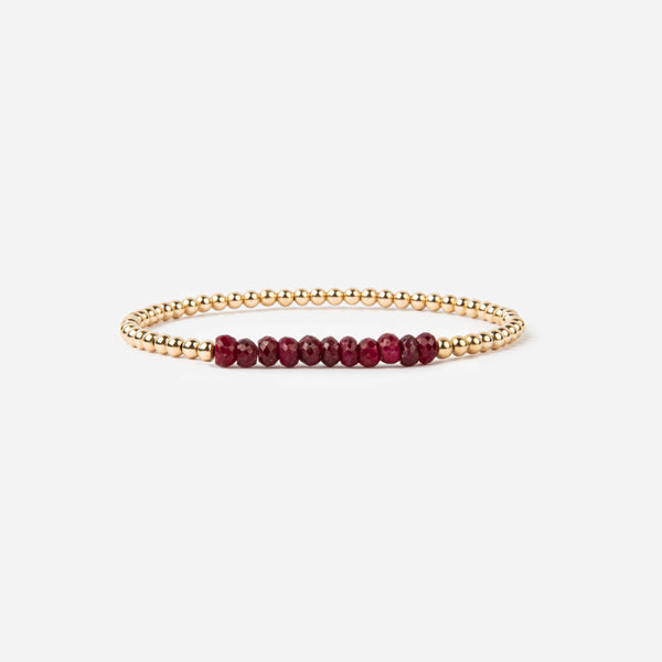 Dark Ruby and Gold Fill Bracelet