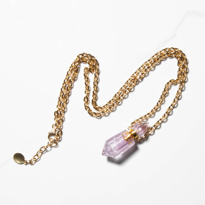 Mya Crystal Necklace-Amethyst