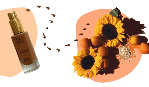 a foundation bottle surrounded by peaches, sunflowers and oat flakes