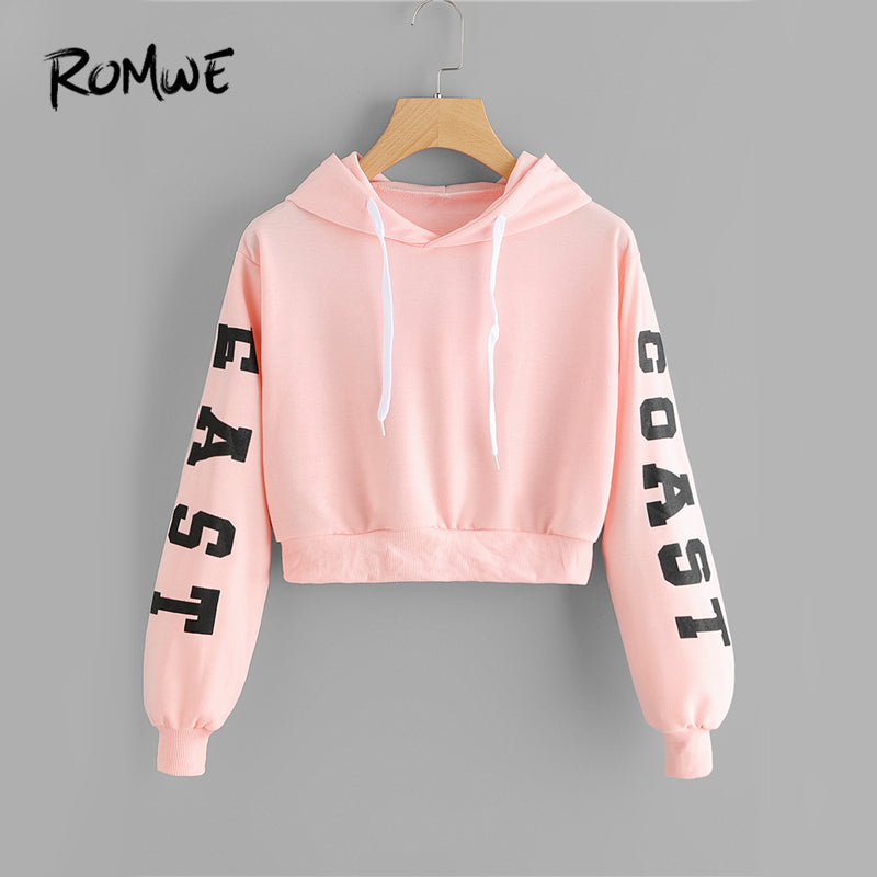 Pink Cropped Hoodies Drawstring Casual Women Letters Print Long Sleeve Hooded Sweatshirt Autumn Graphic Sweet Hoodies - fashionlov