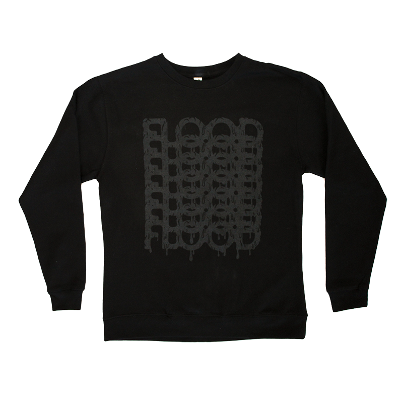 FLOOD Stack Logo Black Crewneck Sweatshirt