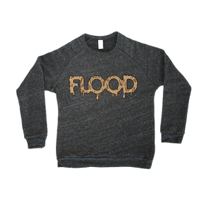 FLOOD Gold Logo Heather Black Youth Crewneck