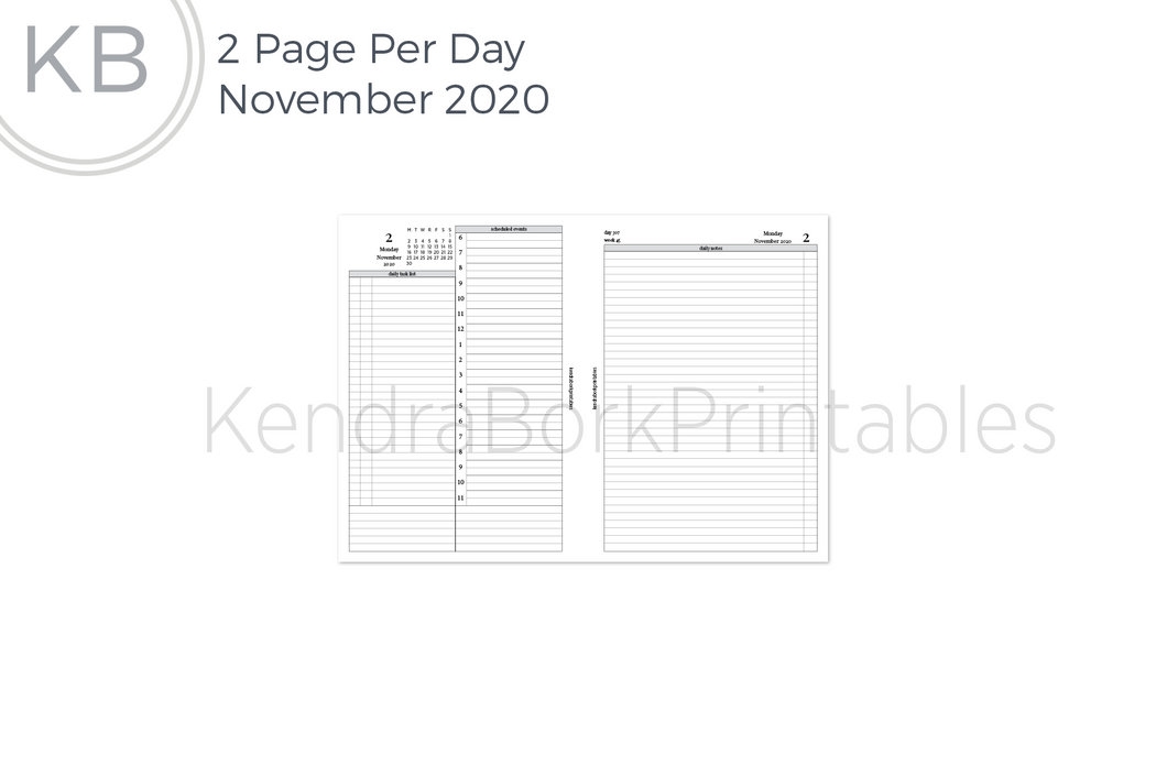 November 2020 2 Page Per Day Insert - Printable