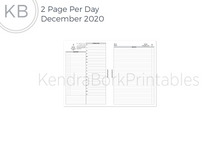 Load image into Gallery viewer, December 2020 2 Page Per Day Insert - Printable