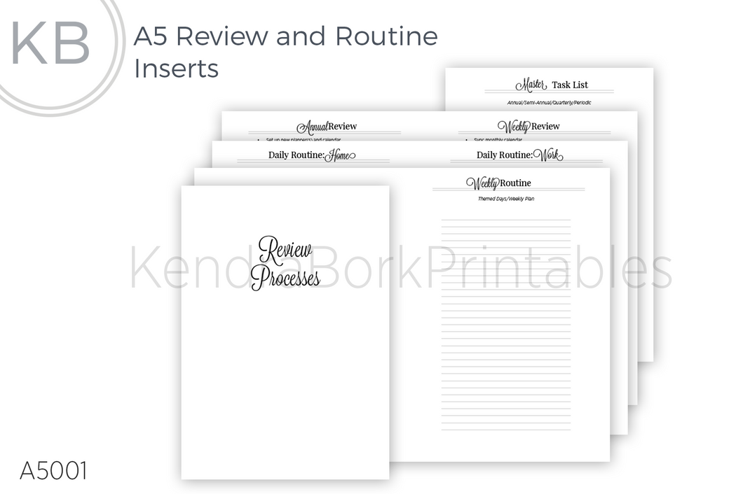 Review and Routine Insert - Printable