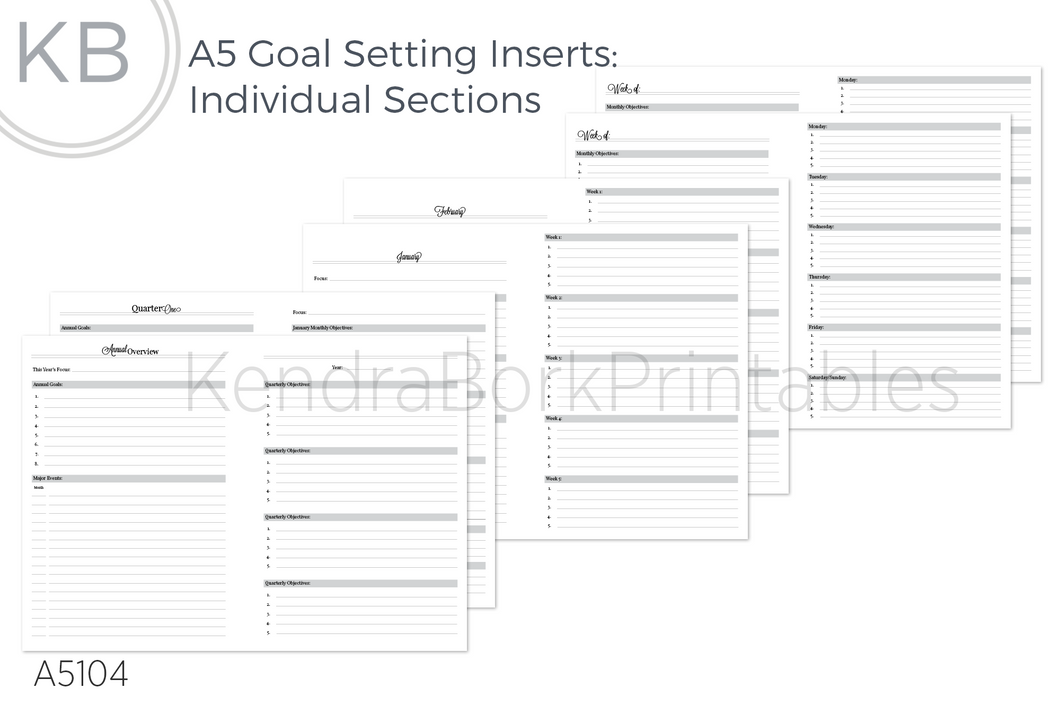 Goal Setting Inserts (Individual Sections) - Printable