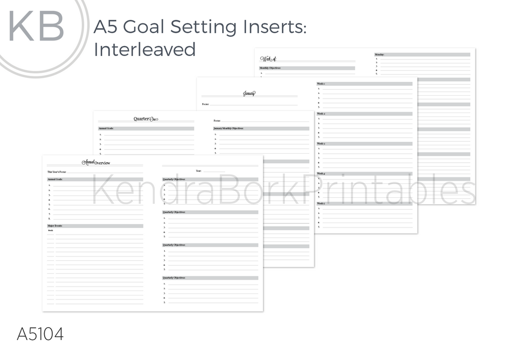 Goal Setting Insert (Interleaved) - Printable
