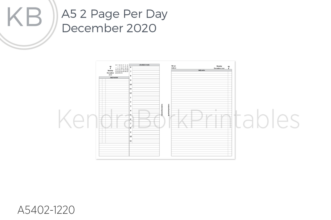 December 2020 2 Page Per Day Insert - Printable