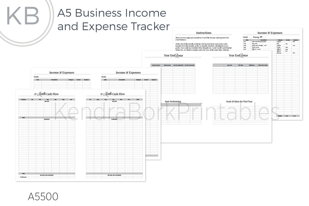 Business Finances Tracker & Cash Flow - Printable