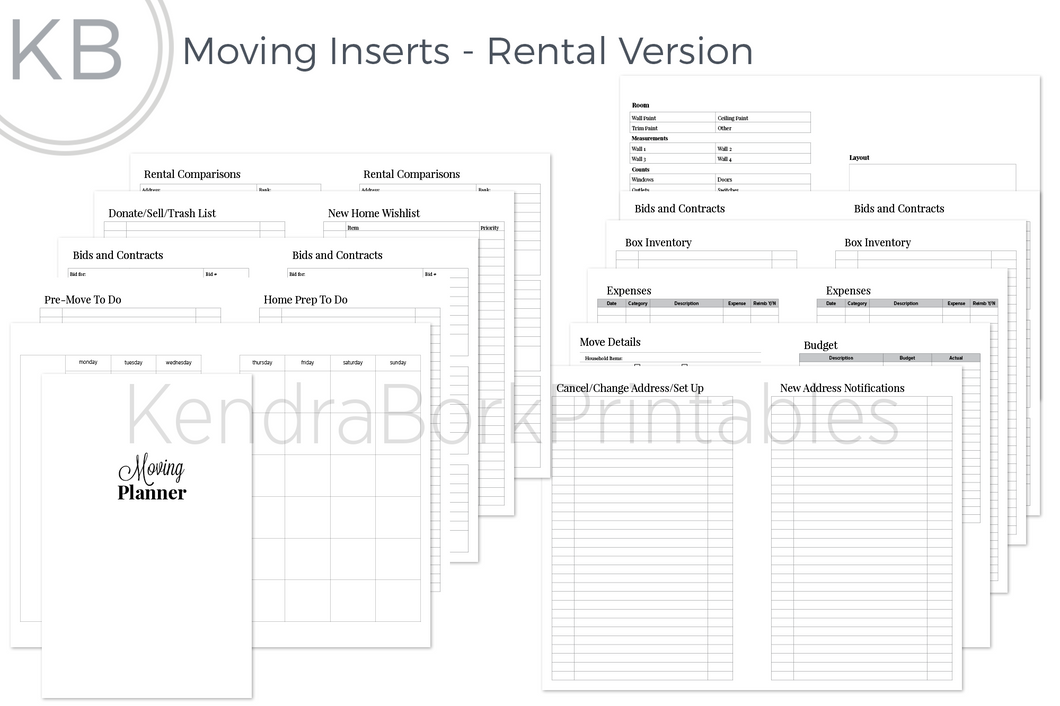 Moving Insert: Rental Version - Printable