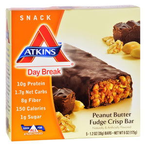 Atkins Day Break Bar Peanut Butter Fudge Crisp - 5 Bars