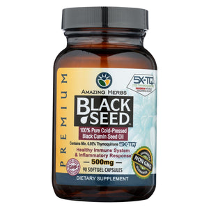 Amazing Herbs - Black Seed Black Cumin Seed Oil - 90 Softgels